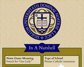 Infographic on University of Notre Dame