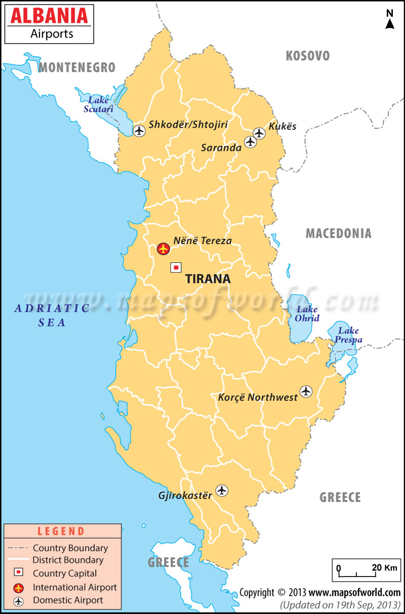 Airports In Albania Albania Airports Map - Political map of albania