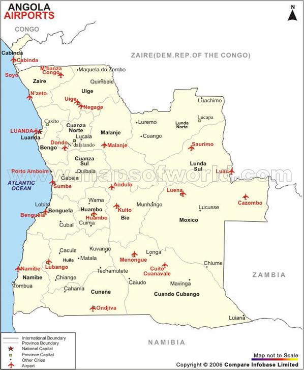 Angola Airport Map