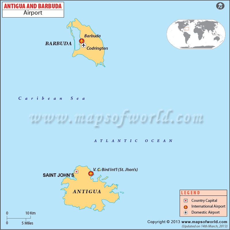 Antigua Barbuda Airports Map