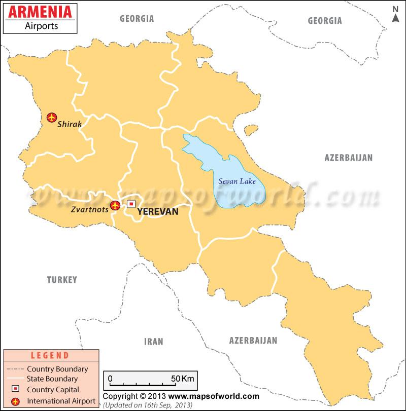 Airports In Armenia Armenia Airports Map - Yerevan georgia map