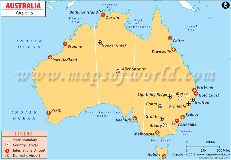 Australia Airports Airports In Australia Map