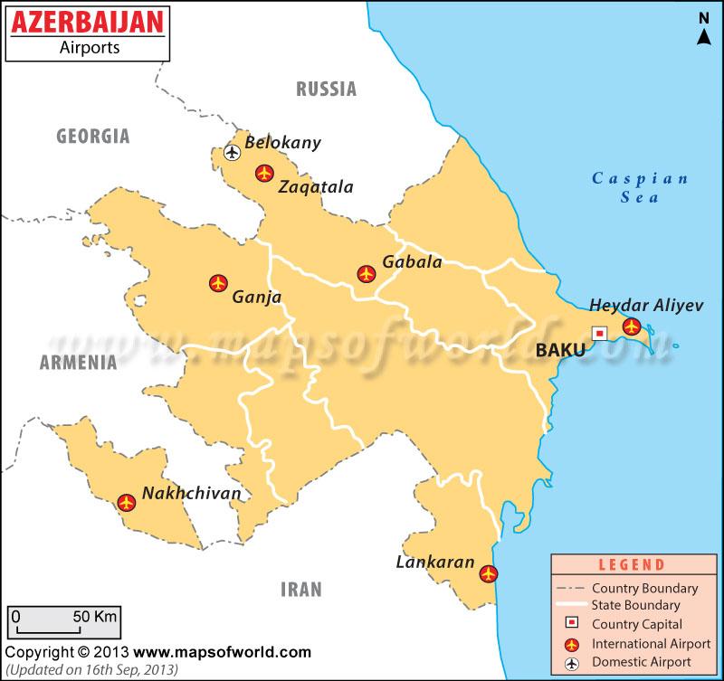 Airports In Azerbaijan Azerbaijan Airports Map - Azerbaijan maps with countries