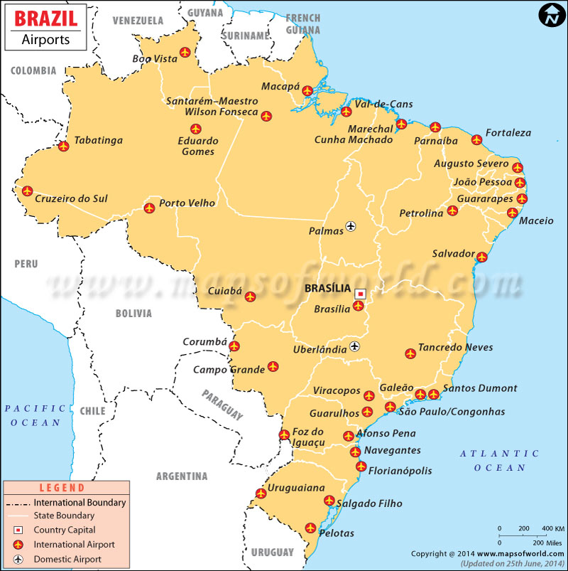 Brazil Airports Airports In Brazil Map - Portugal map with airports