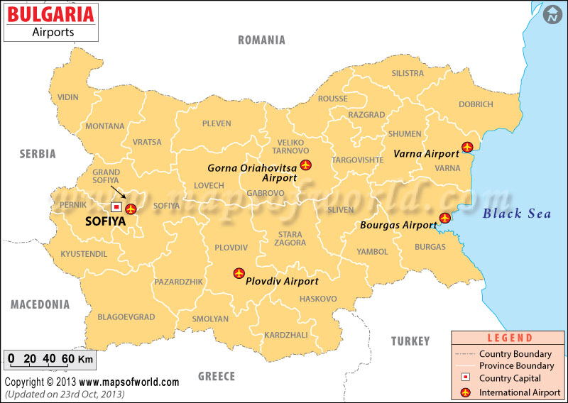 Bulgaria Airports Map