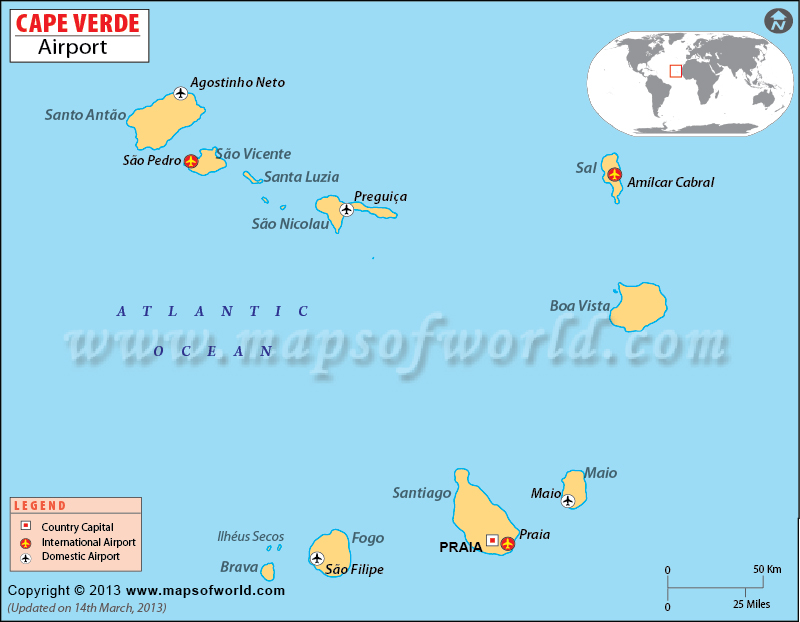 Cape Verde Airports Map