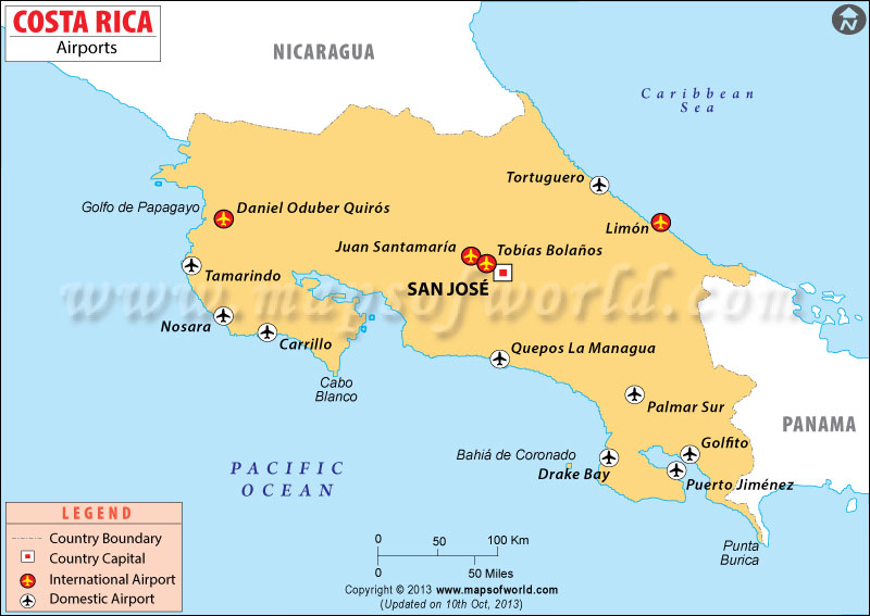 Map shows the Airports in Costa Rica