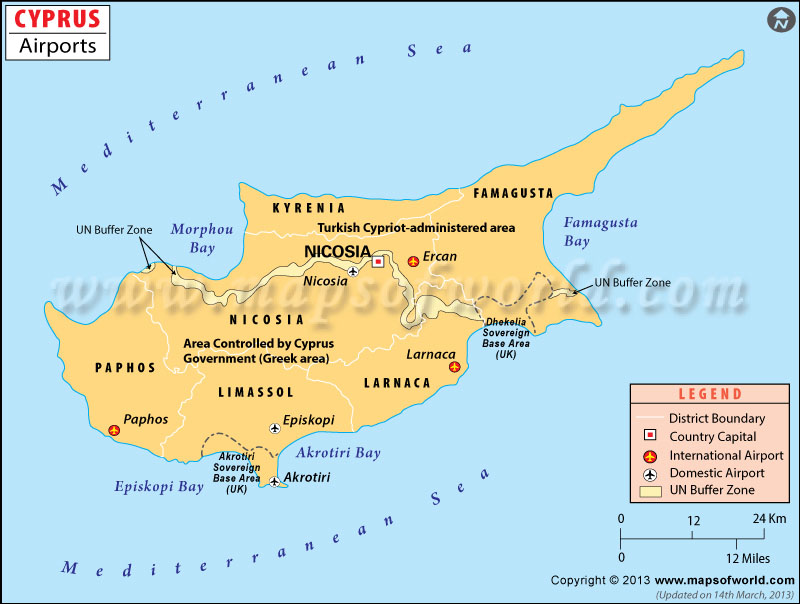 Airports in Cyprus Cyprus Airports Map