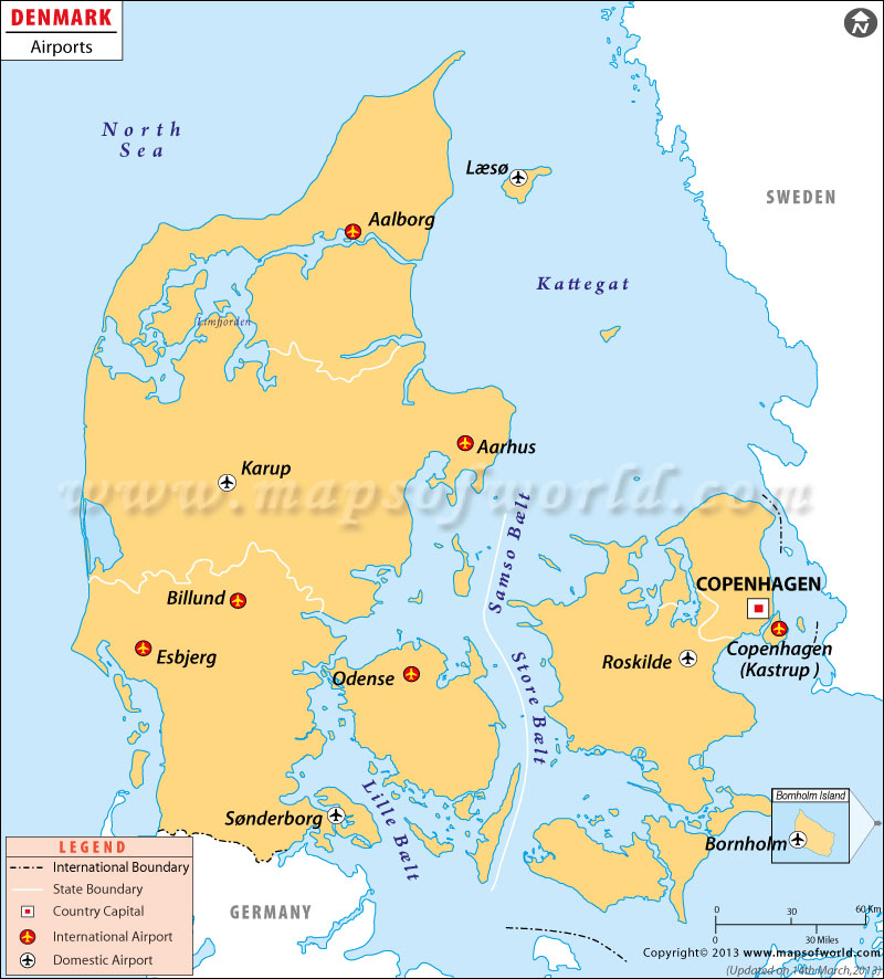 Denmark Airports Map