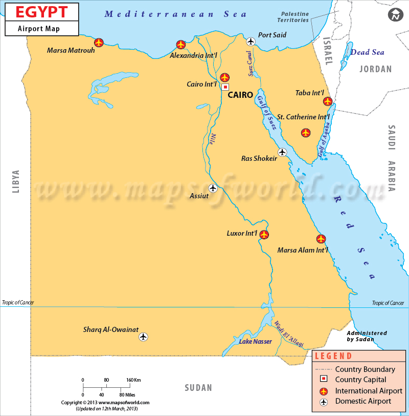 Airports in Egypt, Egypt Airports Map