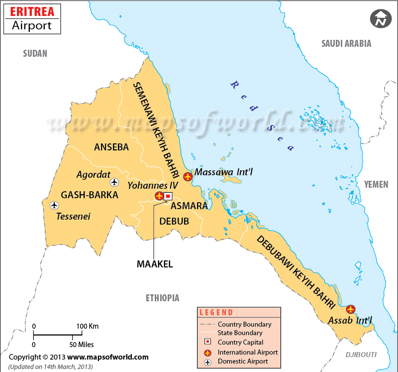 Airports in Eritrea Eritrea Airports Map