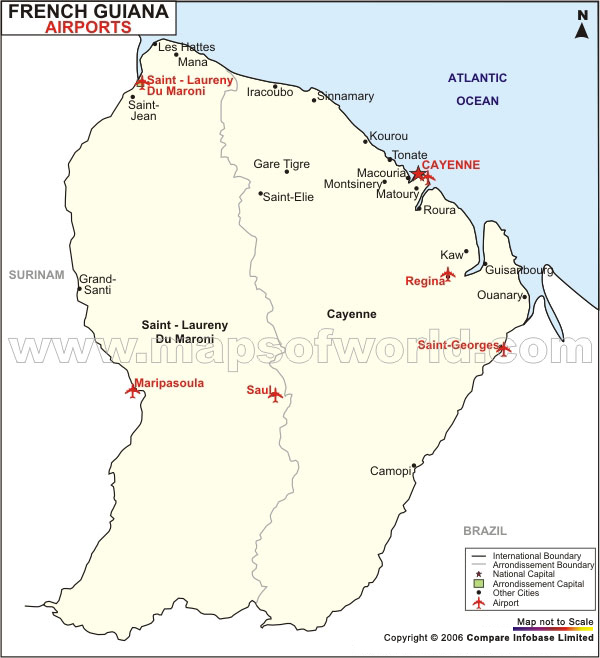 Airports in French Guiana French Guiana Airports Map