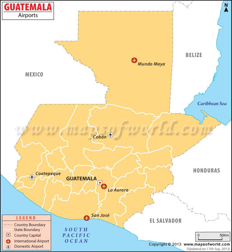 Airports in Guatemala Guatemala Airports Map