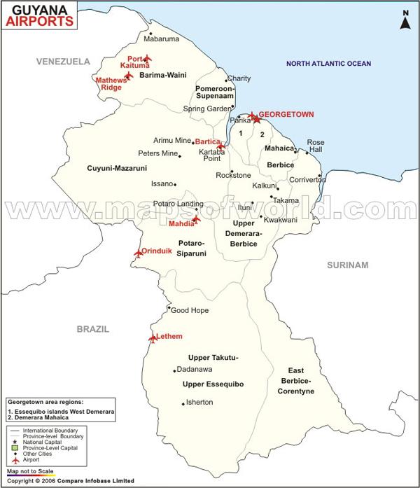 Airports in Guyana Guyana Airports Map