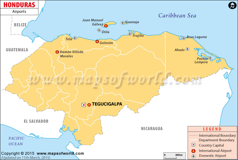Airports In Honduras Honduras Airports Map - Hondurus map