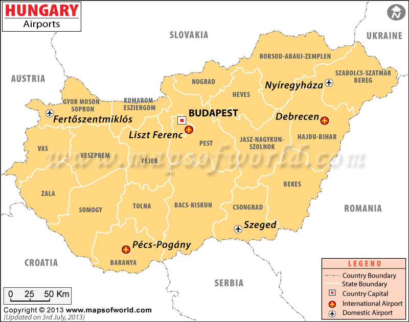 Airports in hungary hungary airports map hungary airports map gumiabroncs Images