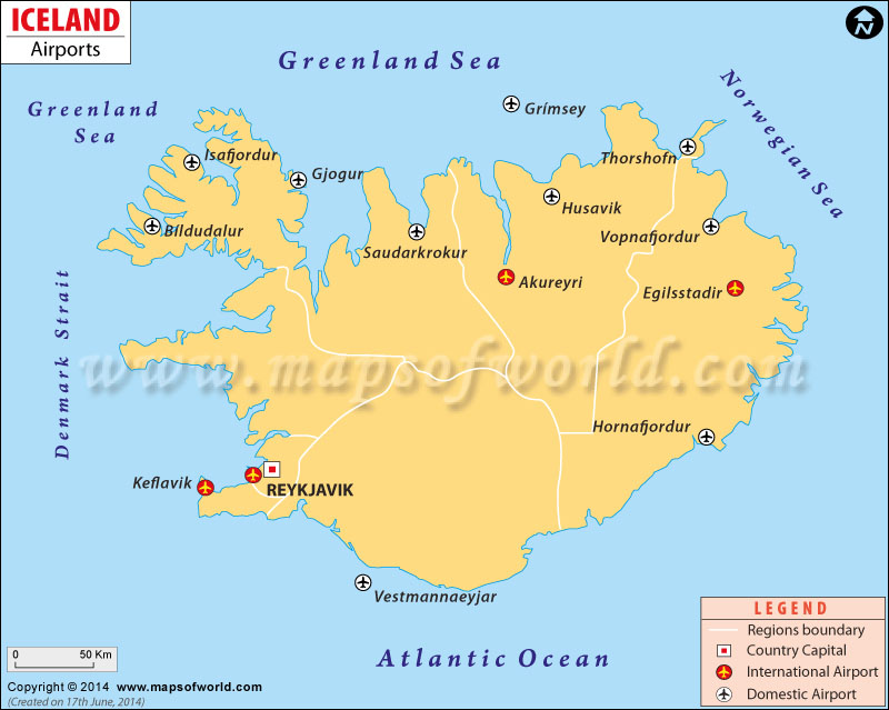 Airports In Iceland Iceland Airports Map