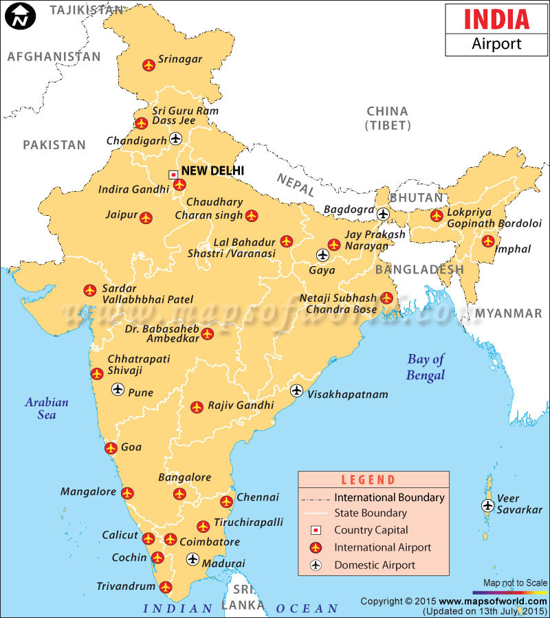 Airports in India, India Airports Map