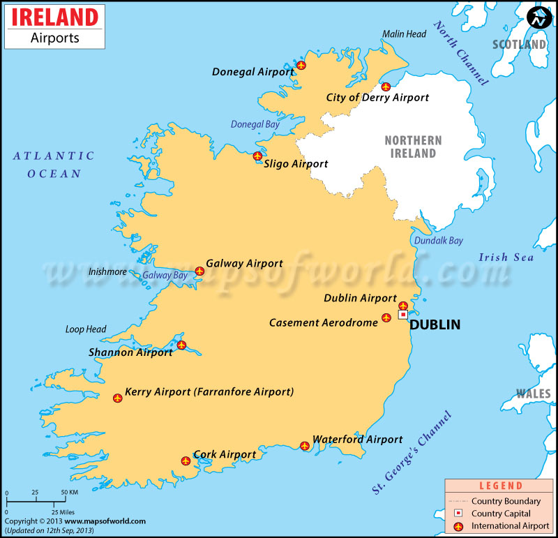 map of ireland shannon airport Airports In Ireland Ireland Airports Map map of ireland shannon airport