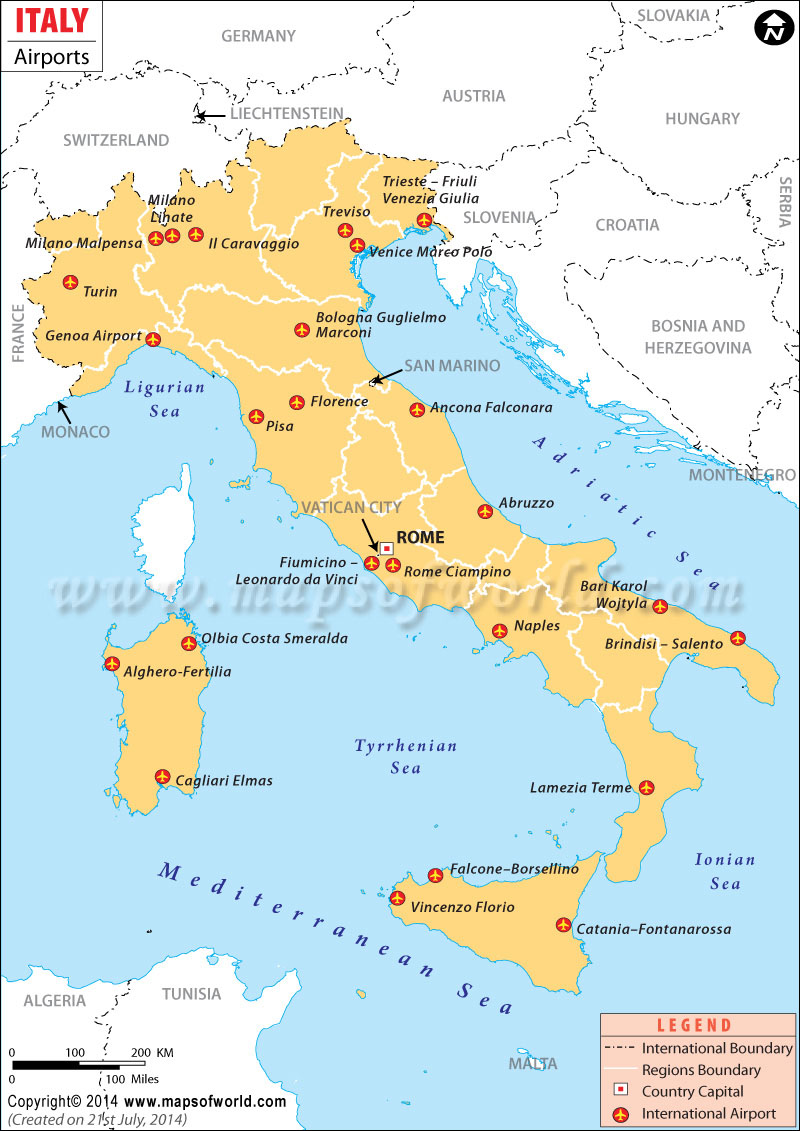 Airports In Italy Italy Airports Map - Usa map with airport codes
