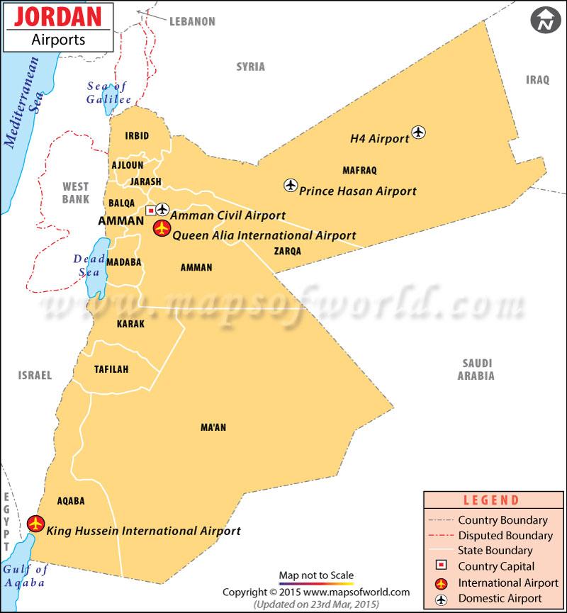 Jordan Airports Map