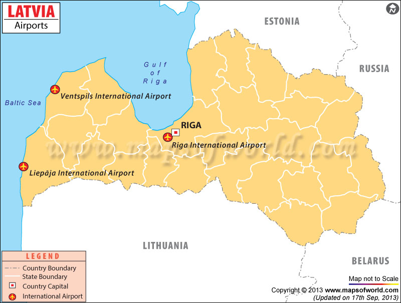 Airports In Latvia Latvia Airports Map - Latvia map outline