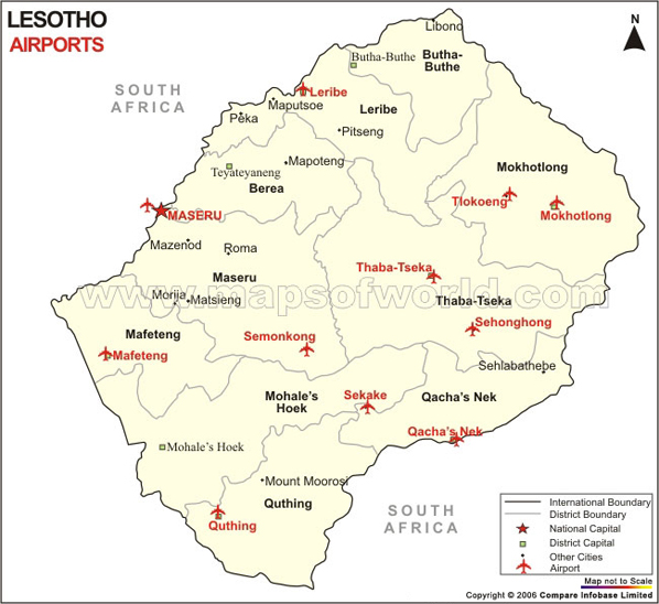 Lesotho Airport Map