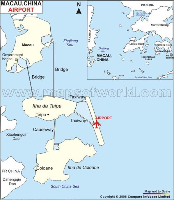 Airports In Macau Macau Airports Map - Macau map quiz