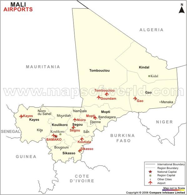 Mali Airport Map