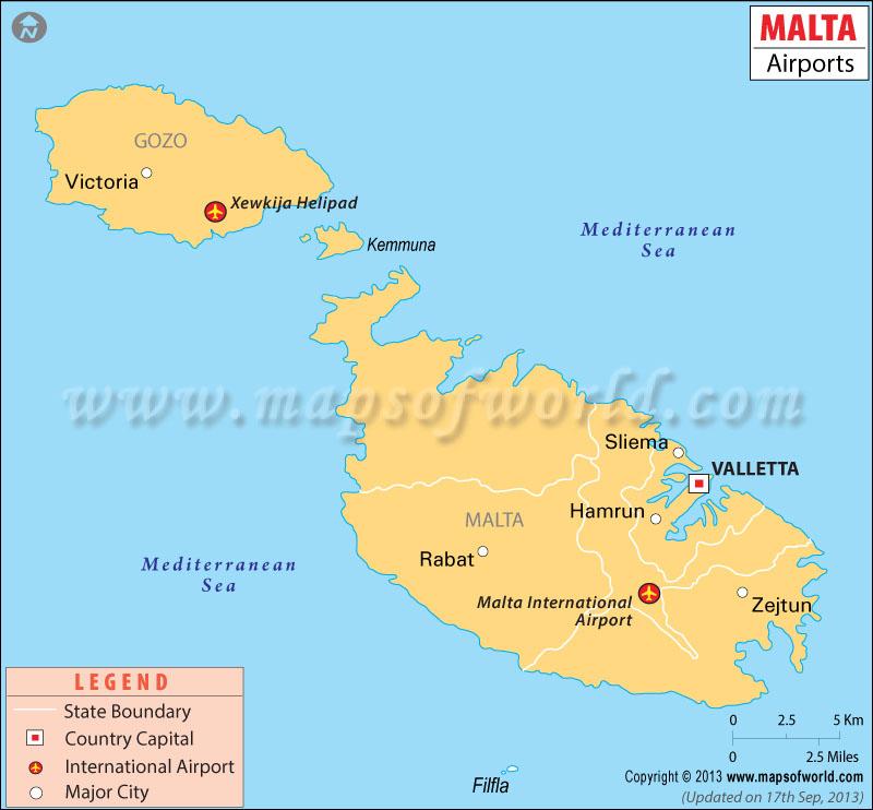 Malta Airports Map