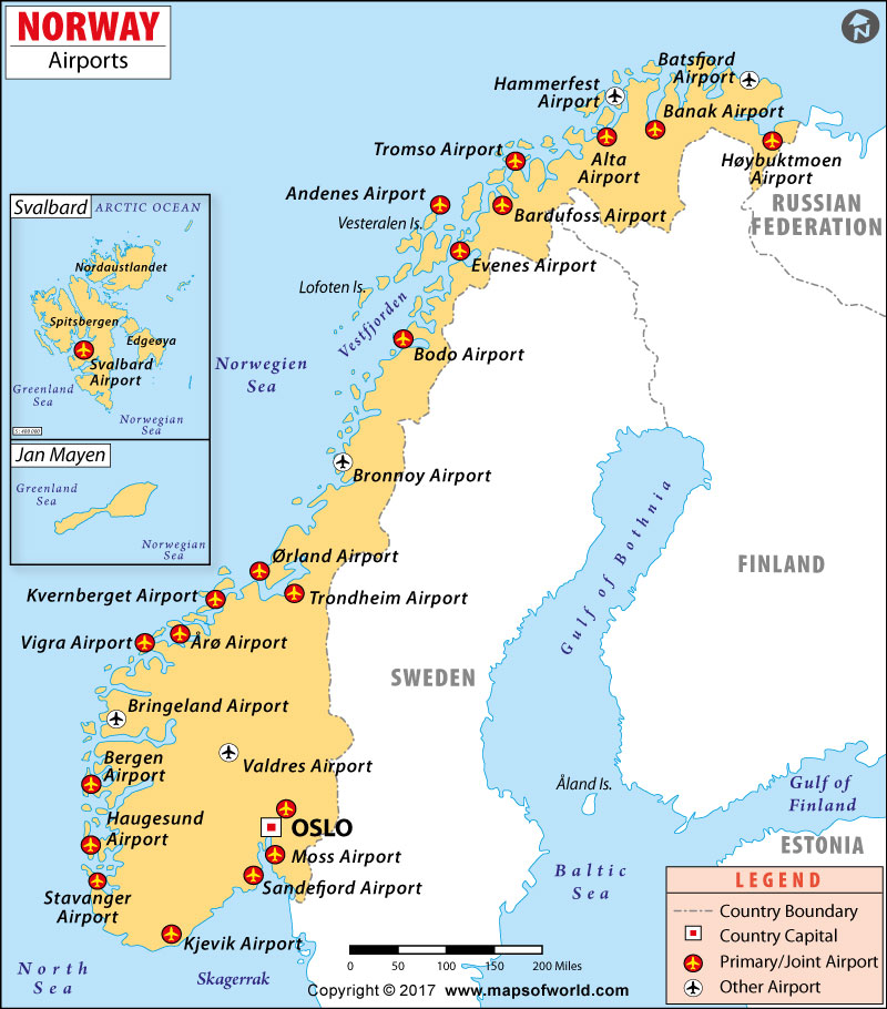 Airports In Norway Norway Airports Map - Norway map stavanger