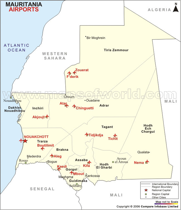 Airports In Mauritania Mauritania Airports Map