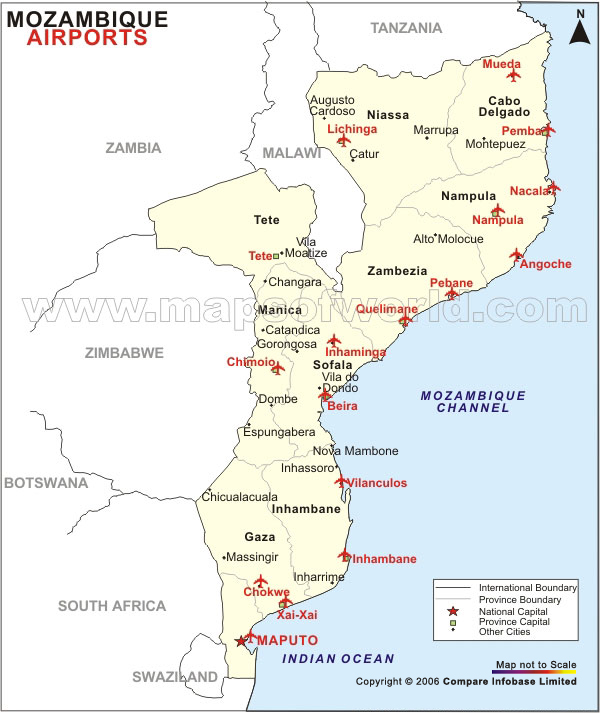 Mozambique Airport Map