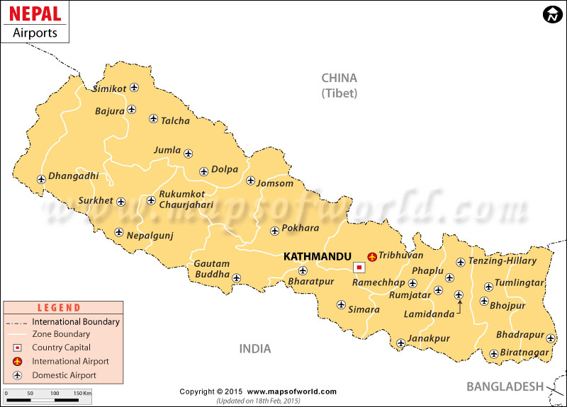 Airports in Nepal Nepal Airports Map