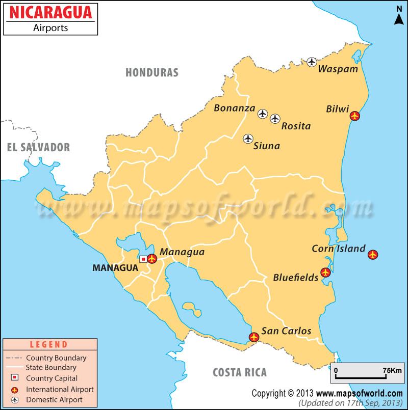 Airports In Nicaragua Nicaragua Airports Map - Us map with airport codes