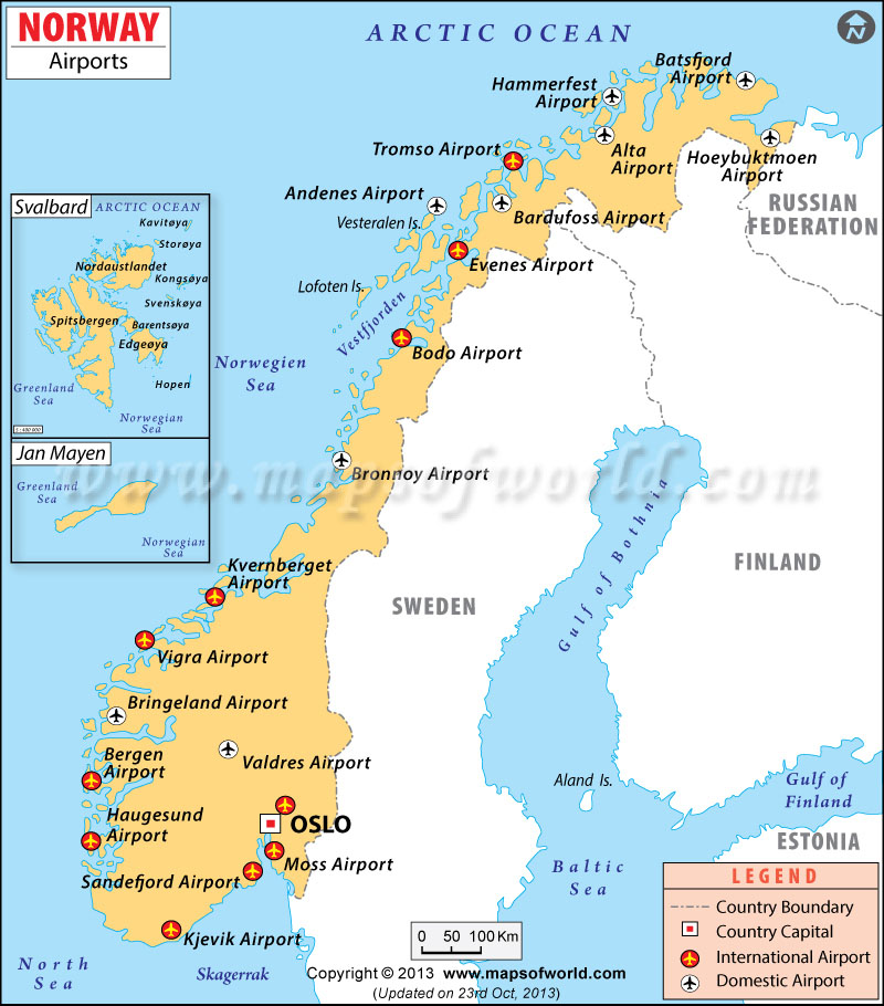 Airports In Norway Norway Airports Map - Norway valdres map