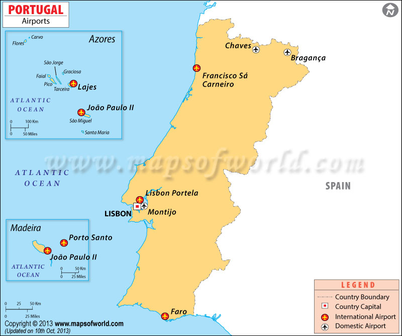 Map shows the Airports in Portugal