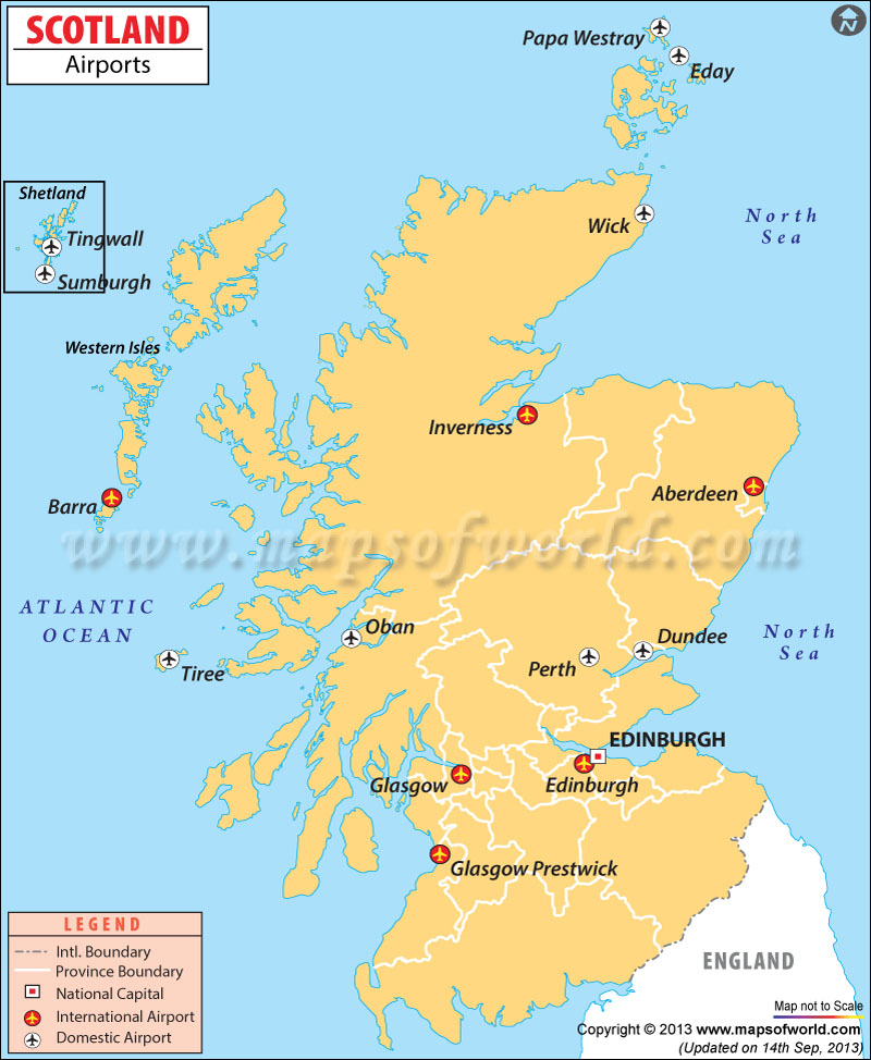 Scotland Airports Map