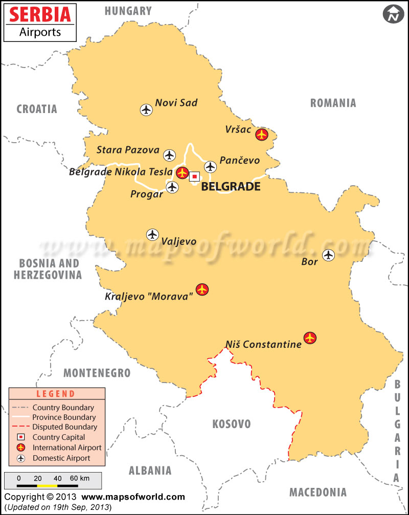 Airports In Serbia Serbia Airports Map - Map of serbia