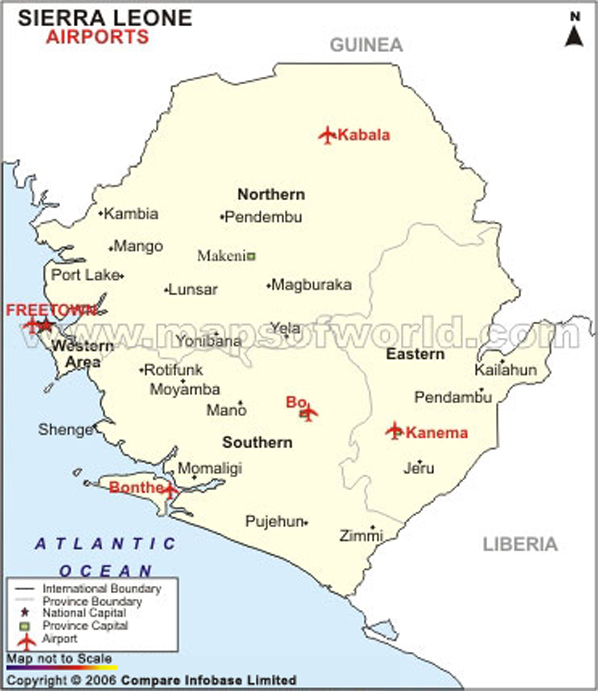 Sierra Leone Airports Map