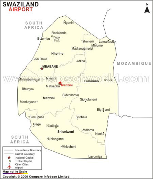 Airports in eSwatini (Swaziland), eSwatini (Swaziland) Airports Map