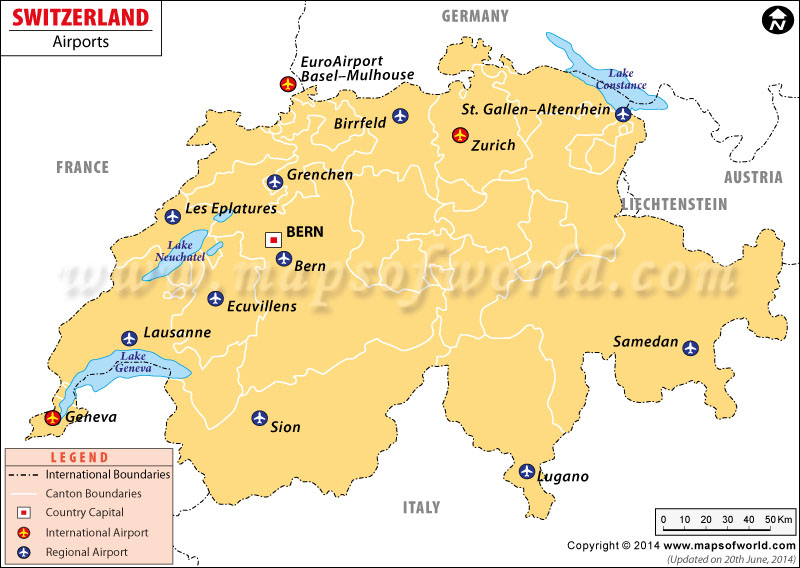 Airports in Switzerland Switzerland Airports Map