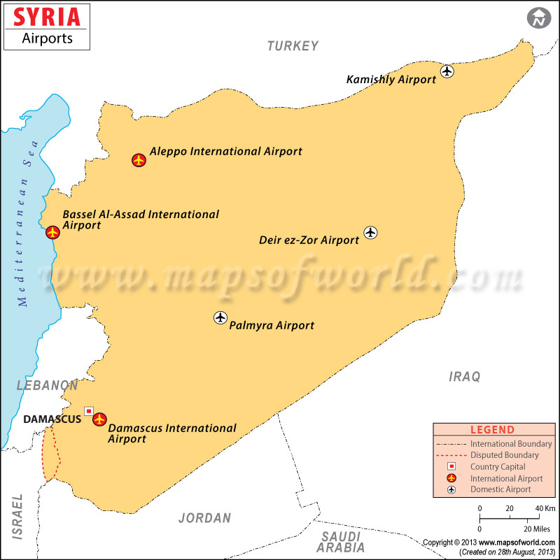Syria Airport Map