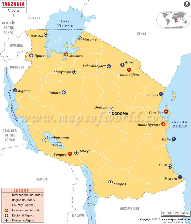 Africa map tanzania airports in tanzania tanzania airports map gumiabroncs Image collections