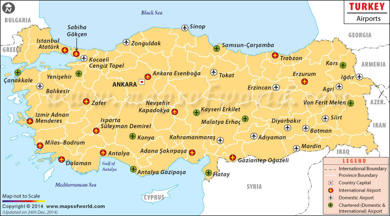 Turkey Airports Airports in Turkey Map