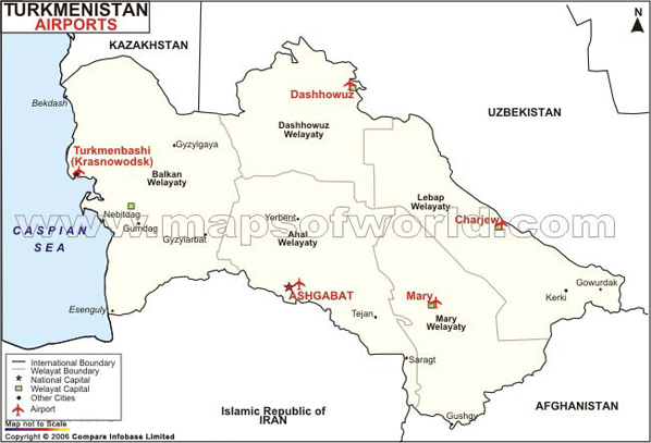 Turkmenistan Airports Map