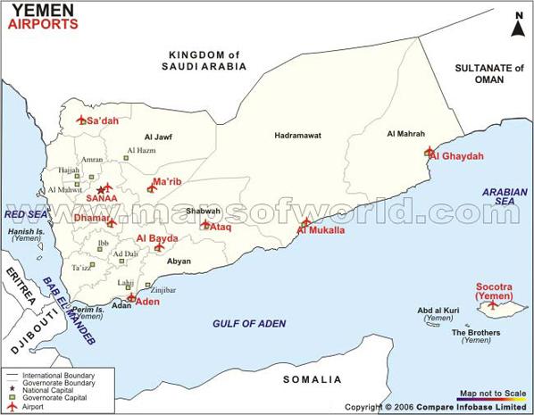 Airports in Yemen, Yemen Airports Map