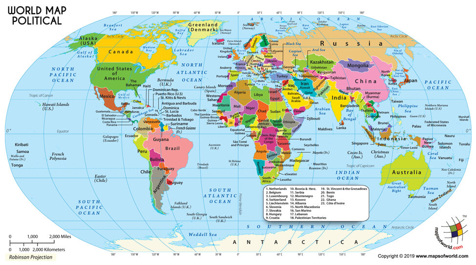 Large World Map in Robinson Projection