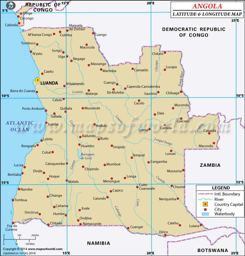 Latitude And Longitude Map - Angola road map