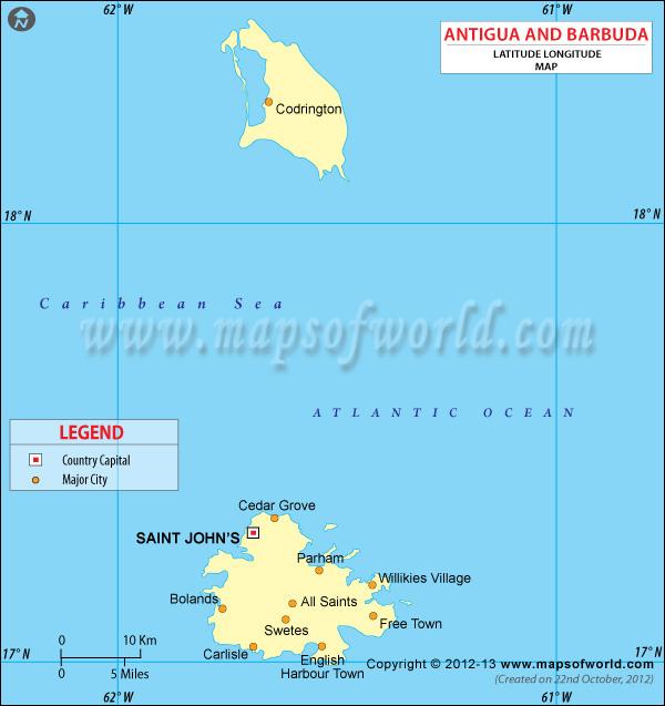 Antigua Latitude and Longitude Map